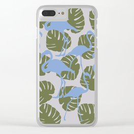 Flamingos and Monstera Pattern ZZZ Clear iPhone Case