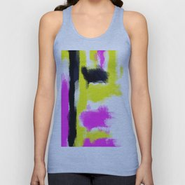 pink yellow and black painting abstract with white background Unisex Tank Top