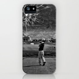 Broken Glass Sky - Black and White Version iPhone Case