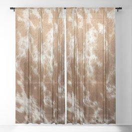 Brown and White Cowhide, Cow Skin Pattern, Farmhouse Decor Sheer Curtain
