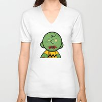 charlie brown V-neck T-shirts featuring Zombie Charlie Brown by rkbr