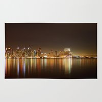 san diego Area & Throw Rugs featuring San Diego Skyline Night by Henrik Lehnerer