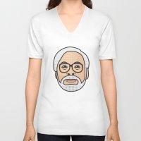 hayao miyazaki V-neck T-shirts featuring Hayao Miyazaki Portrait - Beige by Cedric S Touati