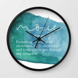 Moxie Definition - Blue Watercolor Wall Clock