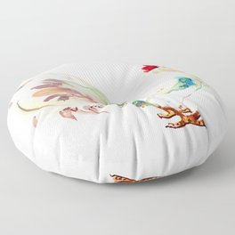 White Rooster Floor Pillow