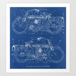 Blueprint art prints society6 motorcycle blueprint art print malvernweather Images