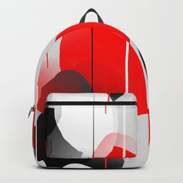 Modern Anxiety Abstract - Red, Black, Gray Backpack