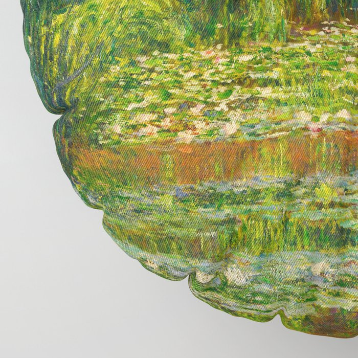 Claude Monet Impressionist Landscape Oil Painting-The Japanese Footbridge and the Water Lily Pool Floor Pillow