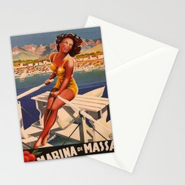retro iconic Marina di Massa poster Stationery Cards