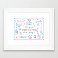 """blink 182 Framed Art Prints featuring Blink 182 """"Do you wanna go to a party?"""" by Jesse Hansonl Design & Illustration"""