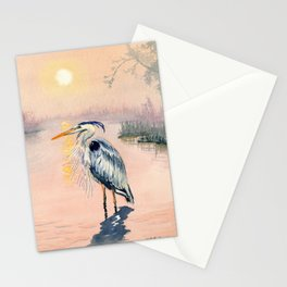 Great Blue Heron at Sunset Stationery Cards
