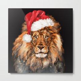 Christmas King Lion Metal Print
