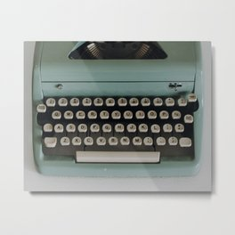 1957 Vintage Blue Typewriter Metal Print