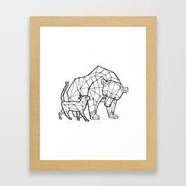 LowPoly Bear & Cat Framed Art Print