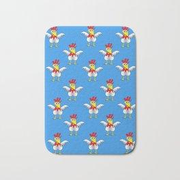 Chicken or Egg? (blue) Bath Mat