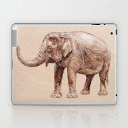 Elephant Portrait - Drawing by Burning on Wood - Pyrography Art Laptop & iPad Skin