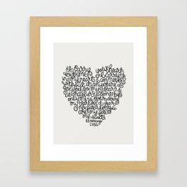 E.E. Cummings Heart Quote Illustration.  Framed Art Print