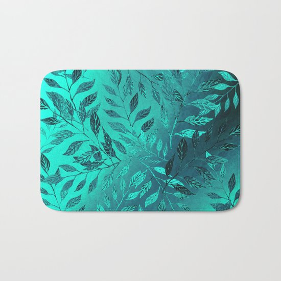 Monochrome Leaf Arrangement (Teal) Bath Mat