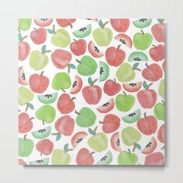 Watercolor artsy red green apple fruit pattern Metal Print