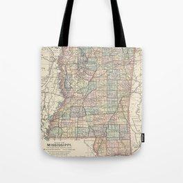 Vintage Map of Mississippi (1891) Tote Bag