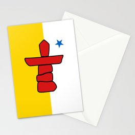 Nunavut territory flag- Authentic version with Inukshuk and blue star Stationery Cards