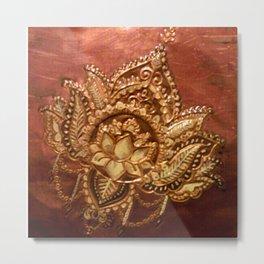 Vintage Lotus Tattoo Metal Print