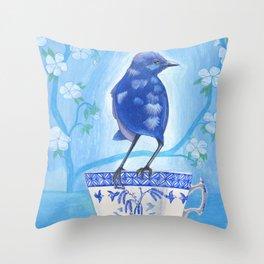 coffee loving splendid fairy wren Throw Pillow