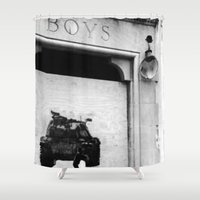 boys Shower Curtains featuring boys by courtneeeee