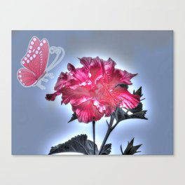 vinous flower and butterfly Canvas Print