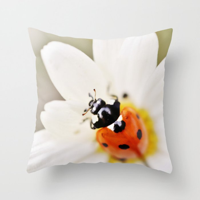 Ladybug on daisy Throw Pillow