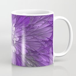 Psychedelic Purple Flower, Fractal Art Coffee Mug
