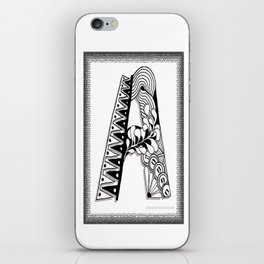 Zentangle A Monogram Alphabet Initials iPhone Skin