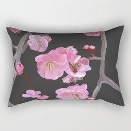 painted plum blossom black Rectangular Pillow