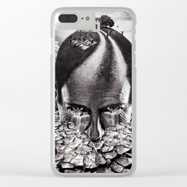 Inhabited Head Grayscale Clear iPhone Case