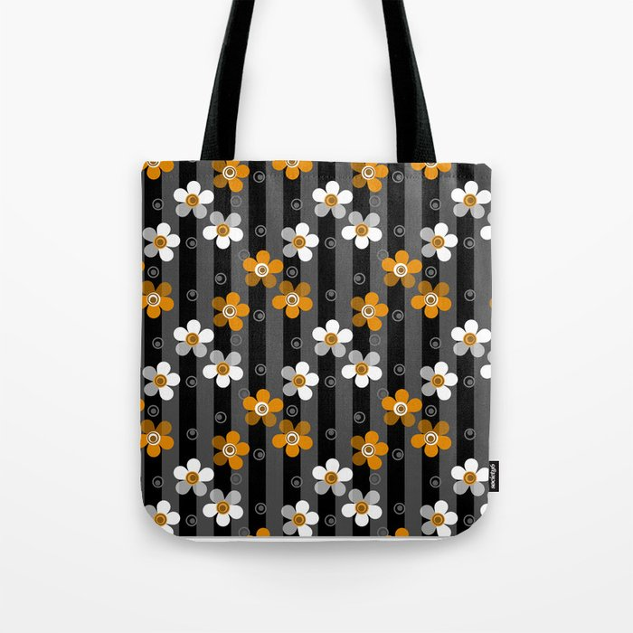 Black and yellow floral pattern on a striped background . Tote Bag