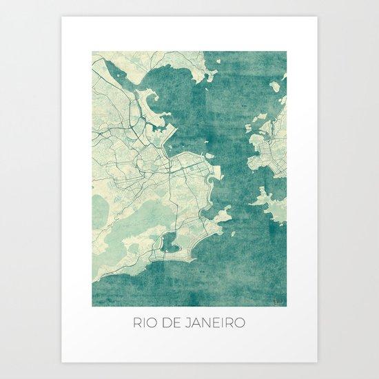 Rio de Janeiro Map Blue Vintage Art Print