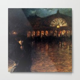 Classical Masterpiece A Woman On A Paris Street At Evening by Lionello Balestrieri Metal Print