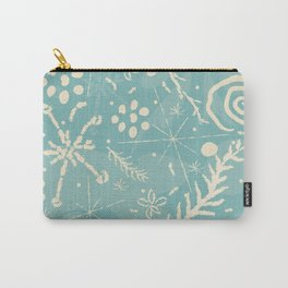 Winter Snowflakes and Doodles Carry-All Pouch
