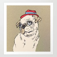 pug Art Prints featuring Pug by Madmi