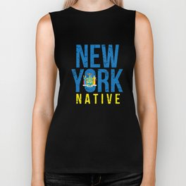 NY New York Native Gift for Home State Pride Residents from New York City, Buffalo, Rochester Biker Tank