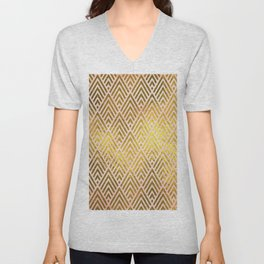 Gold foil triangles on pink - Elegant and luxury triangle pattern Unisex V-Neck