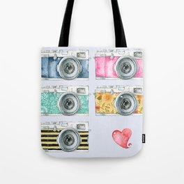 Five Vintage Cameras in Watercolor Tote Bag