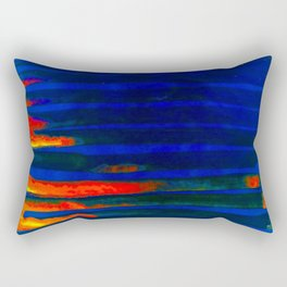 Midnight Blue Lava Lines, Our Earth Burn Marks Rectangular Pillow