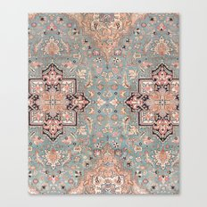 Persian carpet with heriz pattern pink, peach and blue Canvas Print