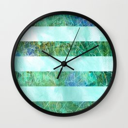 Turquoise Stripes Wall Clock