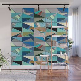 Mid-Century Modern Abstract, Turquoise and Neutrals Wall Mural