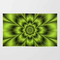 lime green Area & Throw Rugs featuring Lime Green Flower by Objowl