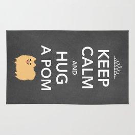 Keep Calm And Hug A Pom - Tan Pomeranian Rug