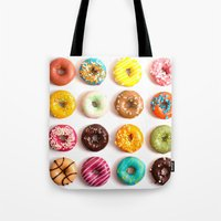 donuts Tote Bags featuring Donuts by Lyre Aloise