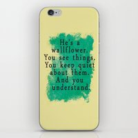the perks of being a wallflower iPhone & iPod Skins featuring Wallflower by green.lime